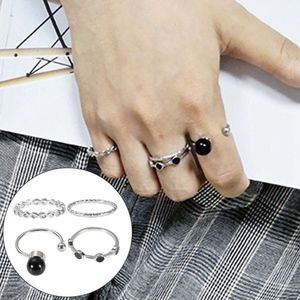 Jewelry - PREVIEW Silver & Black Gemstone Stacked Midi Rings